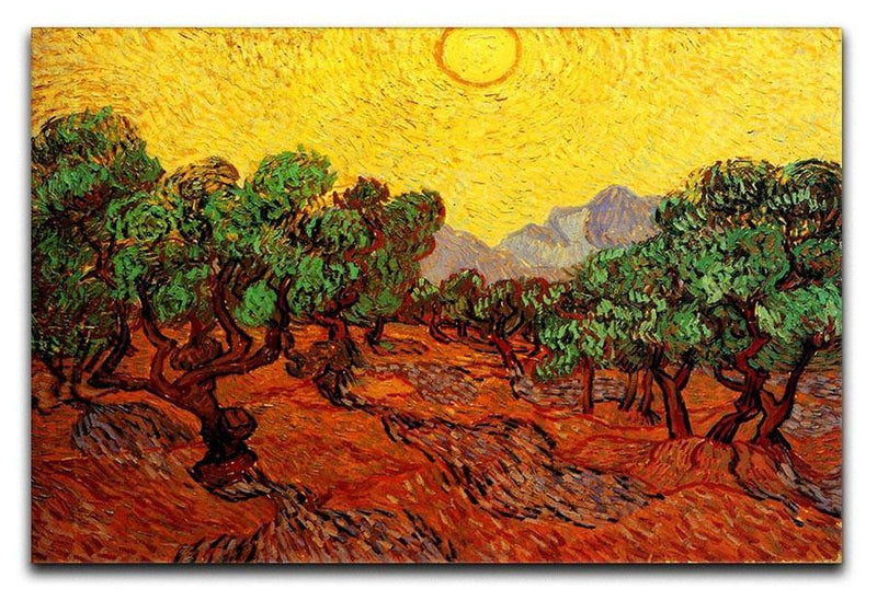Olive Trees with Yellow Sky and Sun by Van Gogh Canvas Print & Poster  - Canvas Art Rocks - 1