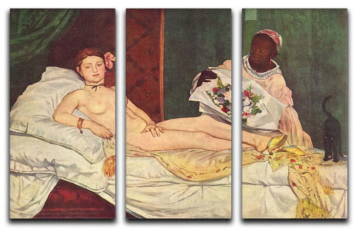 Olympia 1 by Manet 3 Split Panel Canvas Print