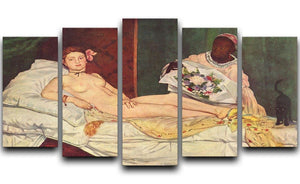 Olympia 1 by Manet 5 Split Panel Canvas  - Canvas Art Rocks - 1