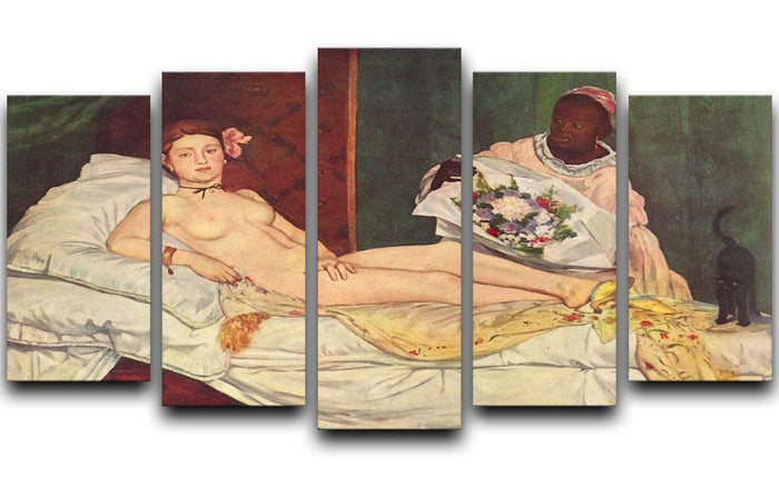 Olympia 1 by Manet 5 Split Panel Canvas