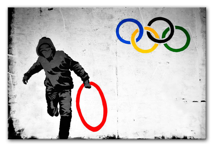 Banksy Olympic Rings Looter Print - Canvas Art Rocks - 3