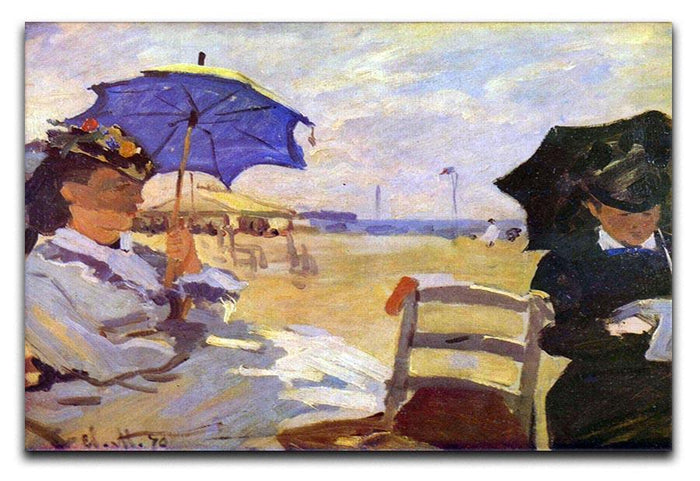 On the beach at Trouville by Monet Canvas Print or Poster
