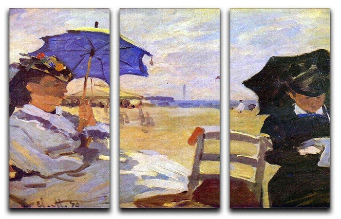 On the beach at Trouville by Monet Split Panel Canvas Print