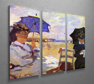 On the beach at Trouville by Monet Split Panel Canvas Print - Canvas Art Rocks - 4