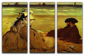 On the beach by Edouard Manet 3 Split Panel Canvas Print - Canvas Art Rocks - 1