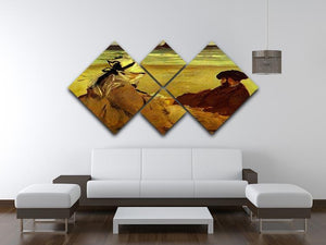 On the beach by Edouard Manet 4 Square Multi Panel Canvas - Canvas Art Rocks - 3