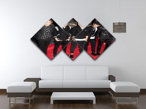 One Direction on the red carpet 4 Square Multi Panel Canvas - Canvas Art Rocks - 3