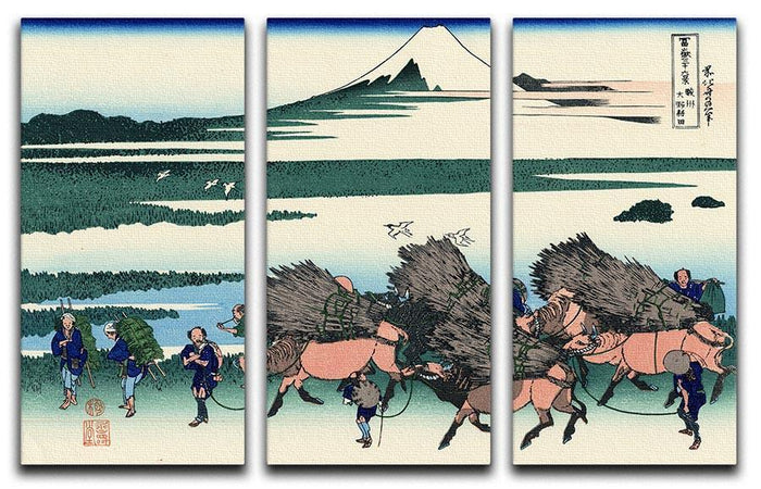 Ono Shindon in the Suraga province by Hokusai 3 Split Panel Canvas Print