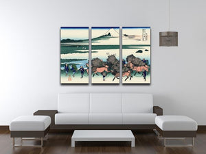 Ono Shindon in the Suraga province by Hokusai 3 Split Panel Canvas Print - Canvas Art Rocks - 3