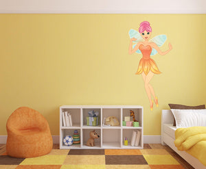 Orange Fairy Wall Decal - Canvas Art Rocks - 1