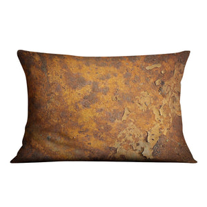 Orange rust grunge abstract Cushion - Canvas Art Rocks - 4