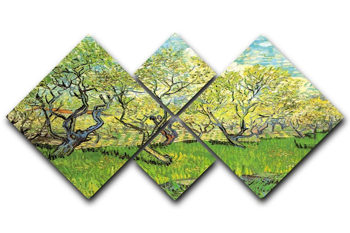 Orchard in Blossom 2 by Van Gogh 4 Square Multi Panel Canvas