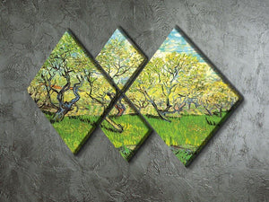 Orchard in Blossom 2 by Van Gogh 4 Square Multi Panel Canvas - Canvas Art Rocks - 2