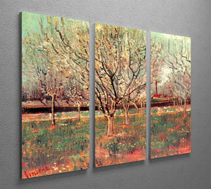 Orchard in Blossom Plum Trees by Van Gogh 3 Split Panel Canvas Print - Canvas Art Rocks - 4