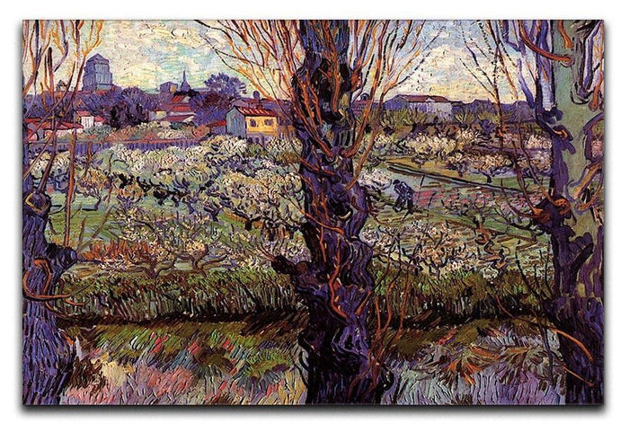 Orchard in Blossom with View of Arles by Van Gogh Canvas Print or Poster