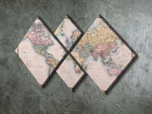 Original old hand coloured map 4 Square Multi Panel Canvas  - Canvas Art Rocks - 2