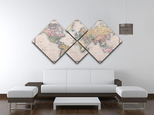 Original old hand coloured map 4 Square Multi Panel Canvas  - Canvas Art Rocks - 3