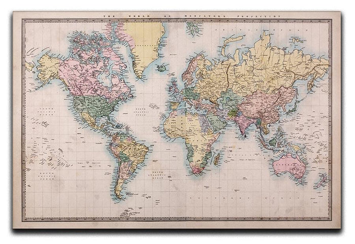 Original old hand coloured map Canvas Print or Poster