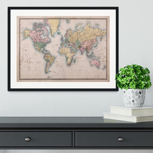 Original old hand coloured map Framed Print - Canvas Art Rocks - 1