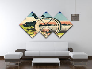 Owari province by Hokusai 4 Square Multi Panel Canvas - Canvas Art Rocks - 3
