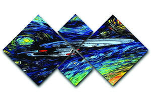 Painting USS Enterprise spaceship 4 Square Multi Panel Canvas  - Canvas Art Rocks - 1