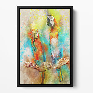 Pair Of Parrots Floating Framed Canvas