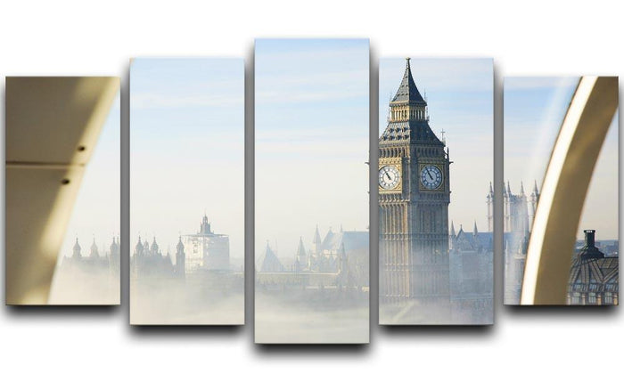 Palace of Westminster in fog 5 Split Panel Canvas