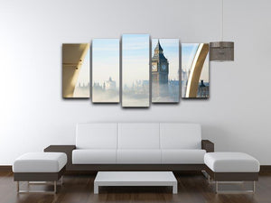 Palace of Westminster in fog 5 Split Panel Canvas  - Canvas Art Rocks - 3