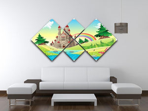 Panorama with castle 4 Square Multi Panel Canvas - Canvas Art Rocks - 3
