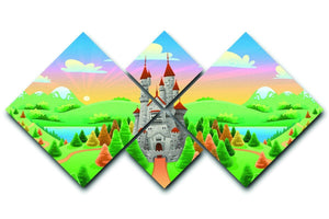 Panorama with medieval castle 4 Square Multi Panel Canvas  - Canvas Art Rocks - 1