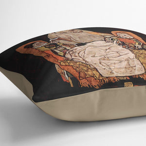 Parent with two children the mother by Egon Schiele Cushion