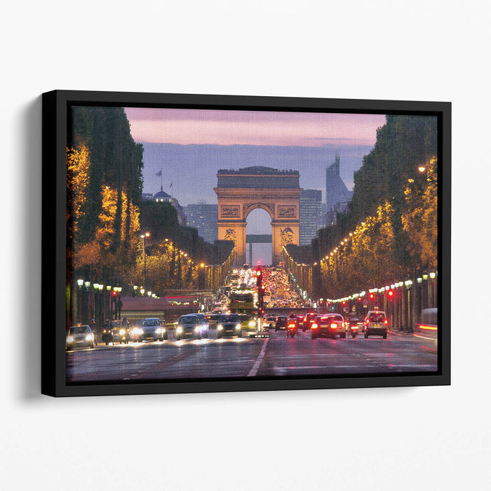 Paris Champs Elysees at night Floating Framed Canvas