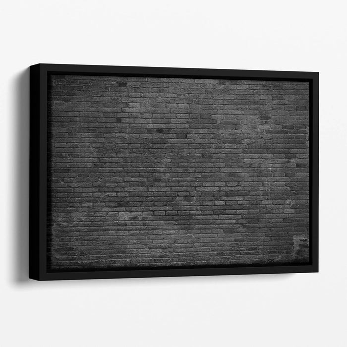 Part of black painted brick Floating Framed Canvas