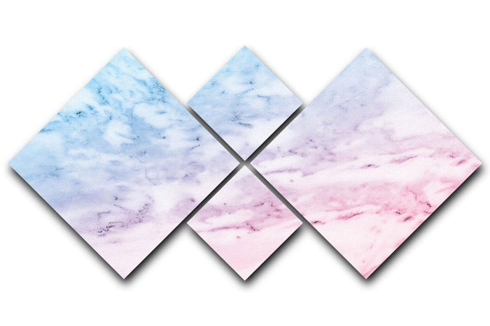 Pastel blue and pink marble 4 Square Multi Panel Canvas