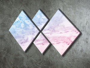 Pastel blue and pink marble 4 Square Multi Panel Canvas  - Canvas Art Rocks - 2