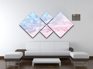 Pastel blue and pink marble 4 Square Multi Panel Canvas  - Canvas Art Rocks - 3