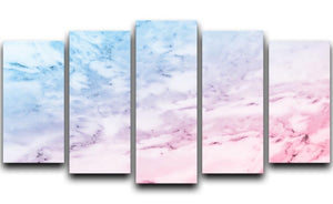 Pastel blue and pink marble 5 Split Panel Canvas  - Canvas Art Rocks - 1