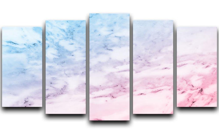 Pastel blue and pink marble 5 Split Panel Canvas
