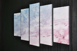 Pastel blue and pink marble 5 Split Panel Canvas  - Canvas Art Rocks - 2
