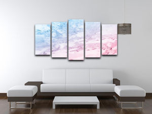 Pastel blue and pink marble 5 Split Panel Canvas  - Canvas Art Rocks - 3