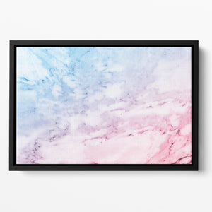 Pastel blue and pink marble Floating Framed Canvas