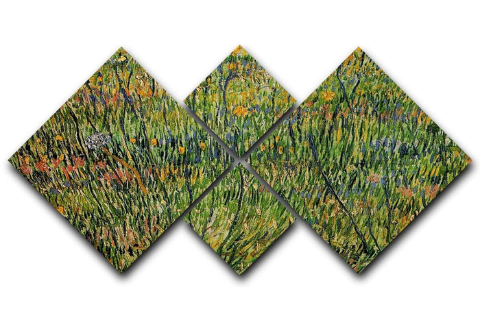 Pasture in Bloom by Van Gogh 4 Square Multi Panel Canvas