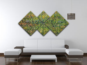 Pasture in Bloom by Van Gogh 4 Square Multi Panel Canvas - Canvas Art Rocks - 3