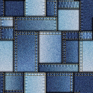 Patchwork of denim fabric Wall Mural Wallpaper - Canvas Art Rocks - 1