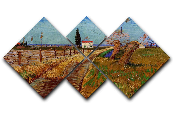 Path Through a Field with Willows by Van Gogh 4 Square Multi Panel Canvas