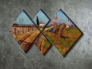 Path Through a Field with Willows by Van Gogh 4 Square Multi Panel Canvas - Canvas Art Rocks - 2