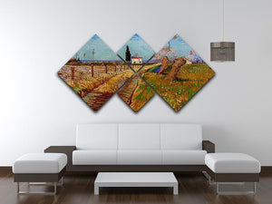 Path Through a Field with Willows by Van Gogh 4 Square Multi Panel Canvas - Canvas Art Rocks - 3
