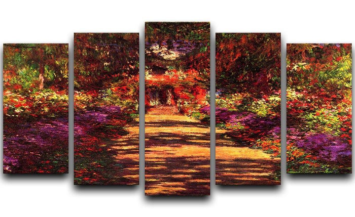 Path in Monets garden in Giverny by Monet 5 Split Panel Canvas