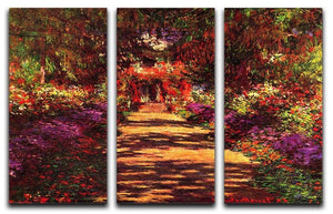 Path in Monets garden in Giverny by Monet Split Panel Canvas Print - Canvas Art Rocks - 4
