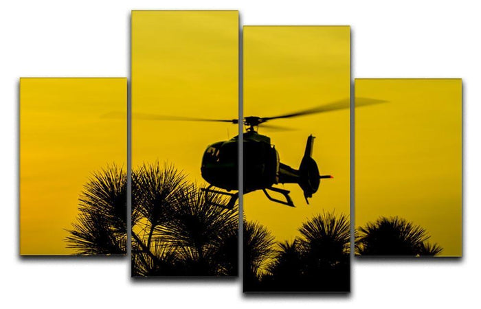 Patrol Helicopter flying in the sky 4 Split Panel Canvas